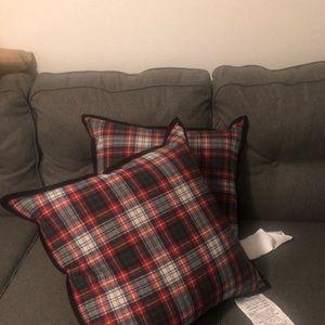 """Ralph Lauren 2 Tartan Plain 20""""x20"""" Throw pillows"""